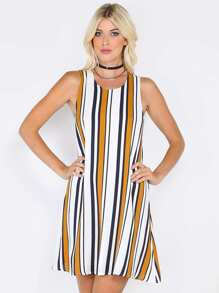 Vertical Stripe Shift Dress CAMEL MULTI