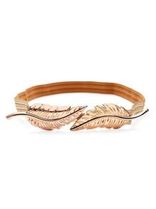 Gold Leaves Two Buckles Elastic Belt
