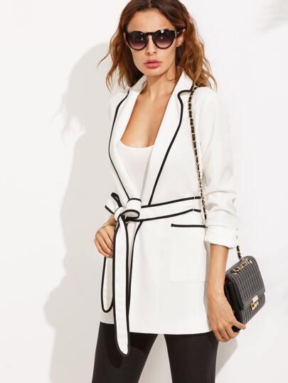 White Lapel Black Trim Tie Waist Pockets Blazer