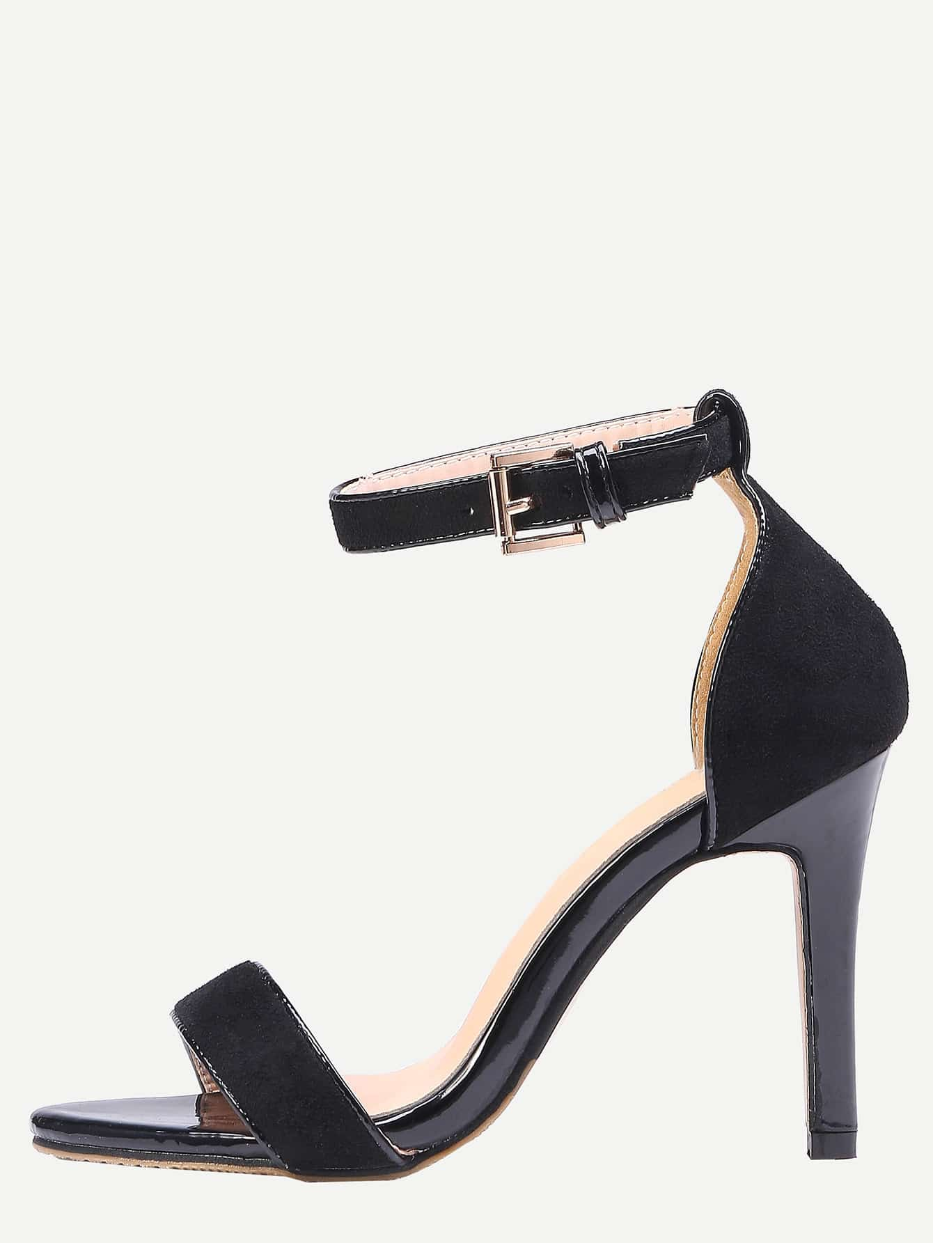 Black Ankle Strap Stiletto Sandals RSHO15121105