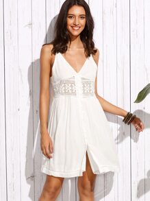 White V Neck Spaghetti Strap Buttons Dress