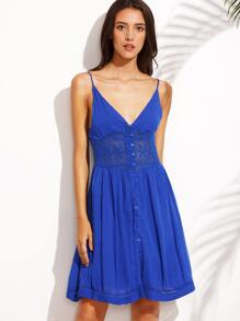 Dark Blue V Neck Spaghetti Strap Buttons Dress