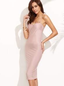 Pink Criss Cross Cutout Slip Dress