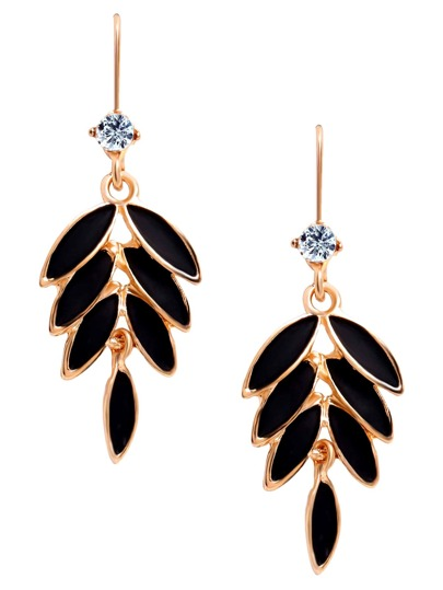 Black Leaves Rhinestone Embellished Golden Drop Earrings