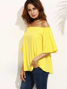 Yellow Ruffle Sleeve Off The Shoulder Blouse