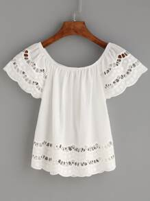 White Eyelet Embroidered Scalloped Top