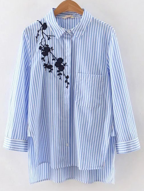 Stripe Embroidery High Low Split Blouse