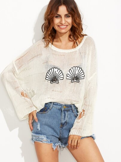 Beige Scallop Sequined High Low Sweater