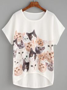 White Cat Print High Low T-shirt