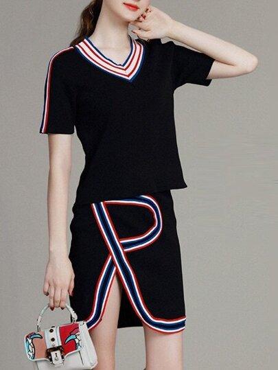 Navy Striped Knit Top With Split Skirt