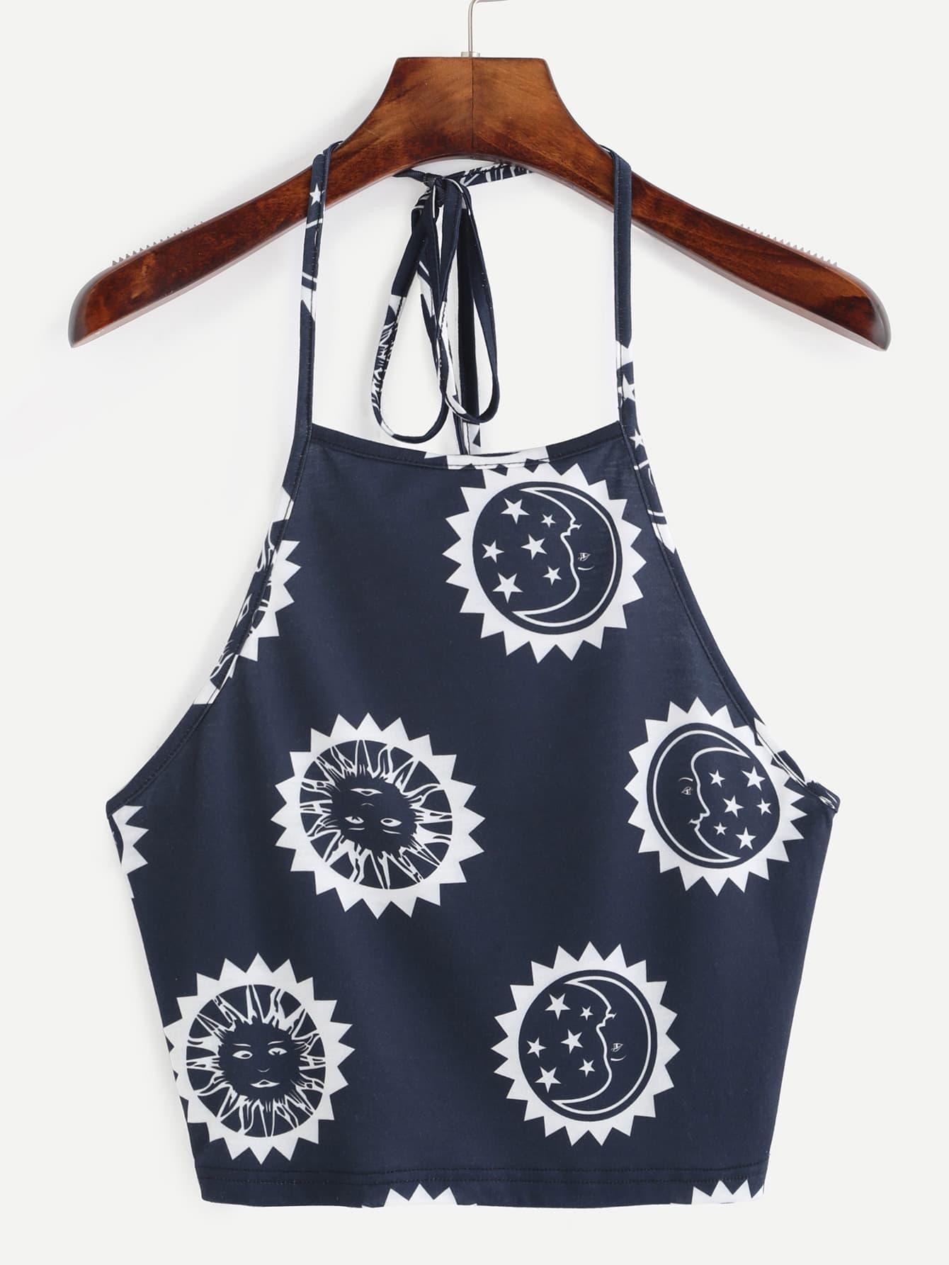 Blue Print Halter Neck Backless Crop Cami Top vest160725702