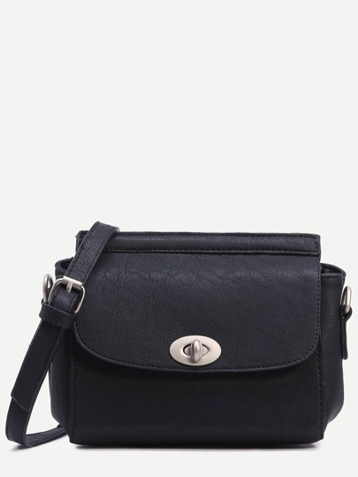 Black Turnlock Closure Structured Flap Bag