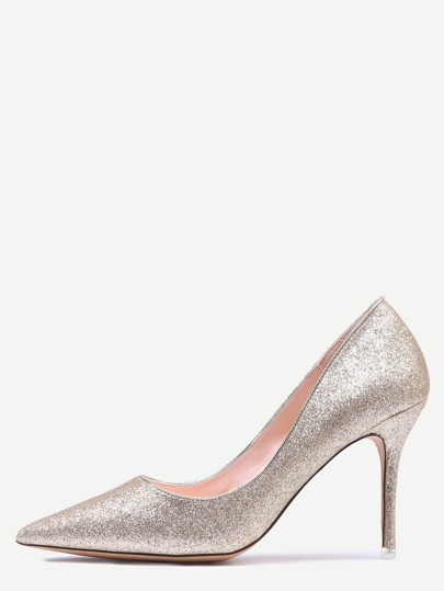 Gold Glitter Pointed Toe Pumps