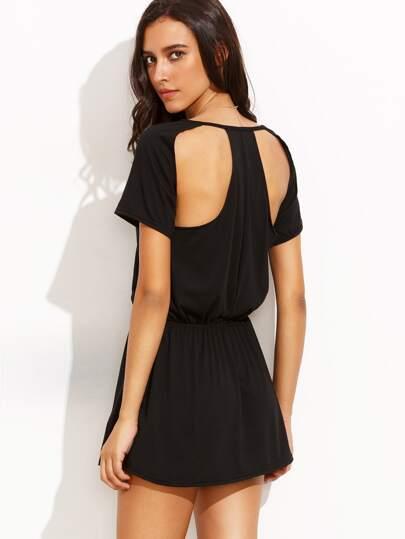 Black Cutout back Elastic Waist Dress