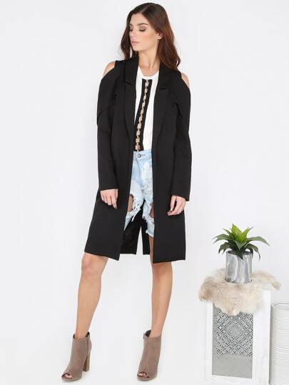 Structured Cold Shoulder Coat BLACK