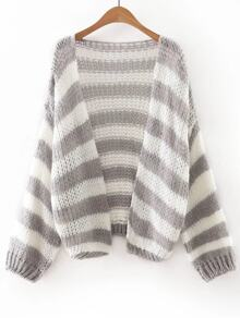 Grey And White Stripe Slim Cardigan