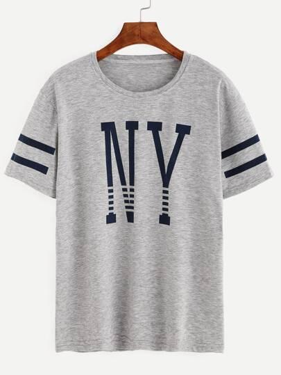 Grey Varsity Striped Letter Print T-shirt