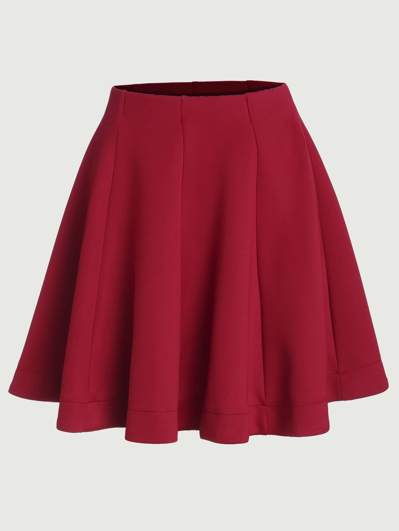 Red Vertical Panel Flare Skirt Shein Sheinside