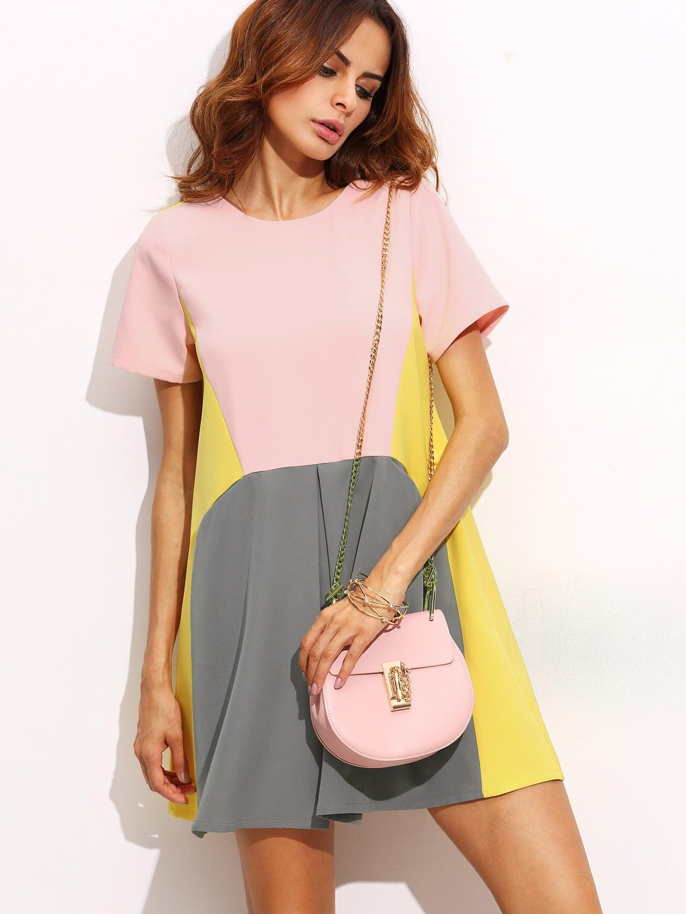 Color Block Pocket Short Sleeve Shift Dress
