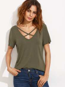 Army Green Criss Cross Front V Back Short Sleeve T-shirt