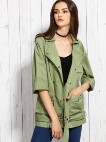 Pale Green Double Breasted Trench Coat With Belt