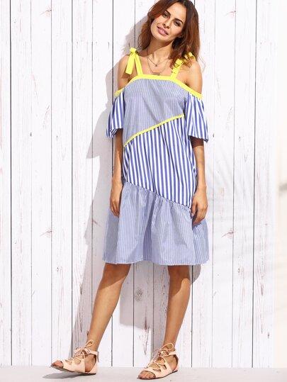 Blue Vertical Striped Cold Shoulder Patch Dress