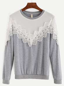 Heather Grey Contrast Yoke Lace Applique Pullover Sweatshirt