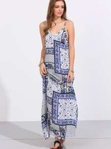 Multicolor Print Spaghetti Strap Backless Maxi Dress