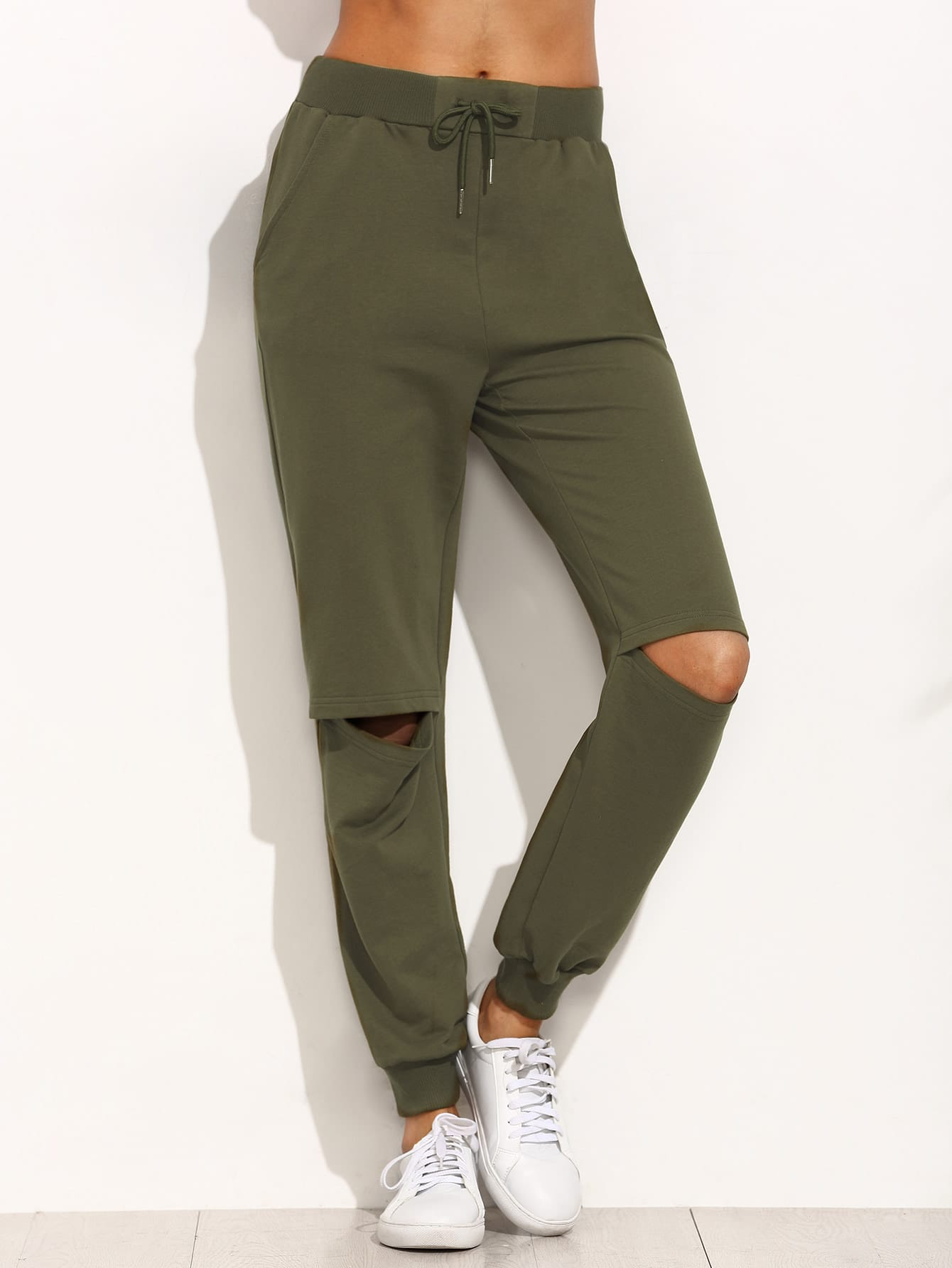 Buy Army Green Tie Cut Knee Long Pants