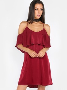 Strappy Satin Ruffle Dress BURGUNDY