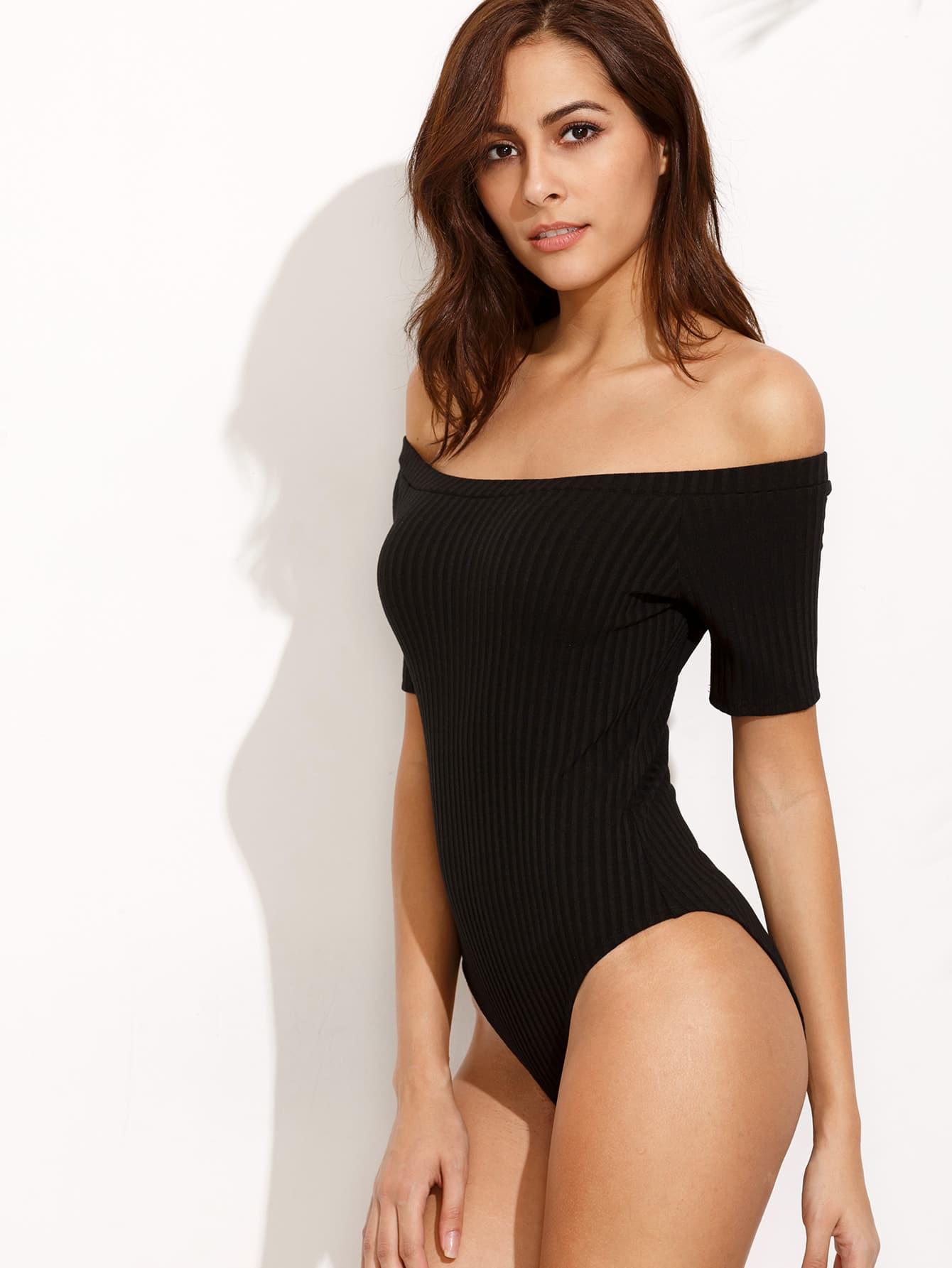 Купить Чёрное боди с открытыми плечами, Giulia, SheIn