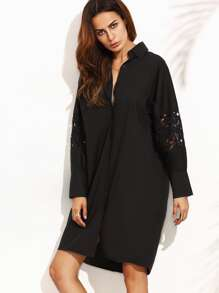 Black Lace Insert Hidden Placket Shirt Dress