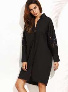 Black Lace Insert Hidden Placket Shirt Dress