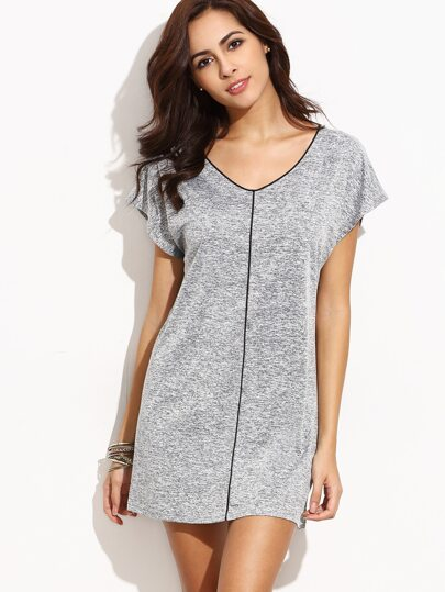 Heather Grey Contrast Piping Shift Dress