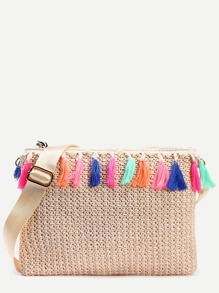 Beige Tassel Trim Straw Clutch Bag