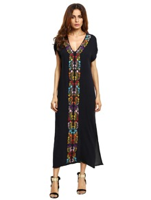 Embroidered Tape Split Side Dress