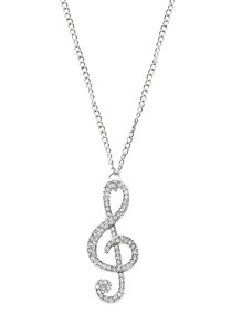 Silver Rhinestone Treble Clef Pendant Necklace