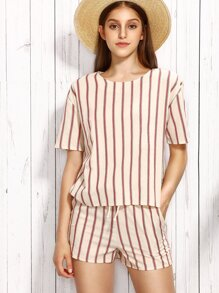 Beige Short Sleeve Striped Top With Shorts