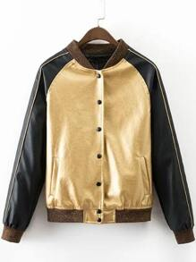 Gold Rib-knit Cuff Sequined Back Button Jacket