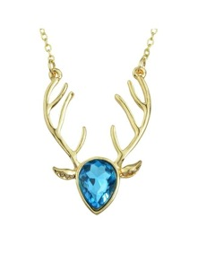 Lightblue Rhinestone Deer Pendant Necklace