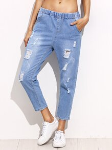 Blue Ripped Bleach Wash Elastic Waist Ankle Jeans