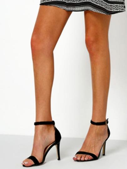 Black Ankle Strap Stiletto Sandals