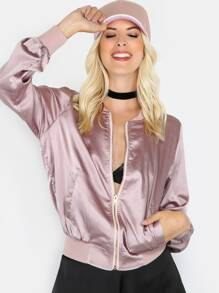 Zip Up Satin Bomber Jacket MAUVE