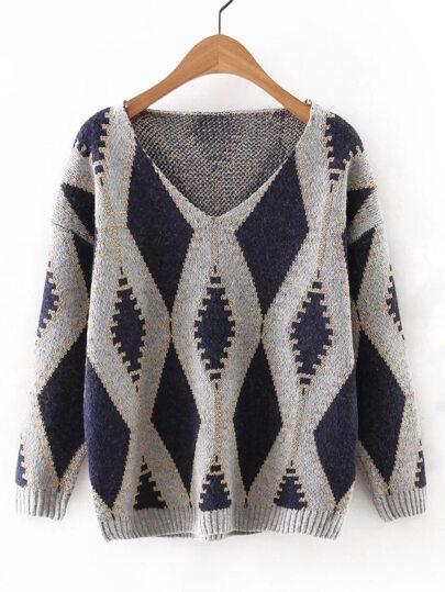 Navy V Neck Geometric Printed Sweater