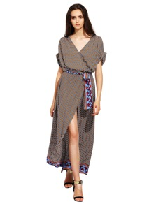 Geometric Print Warp Full Length Dress With Tie Waist