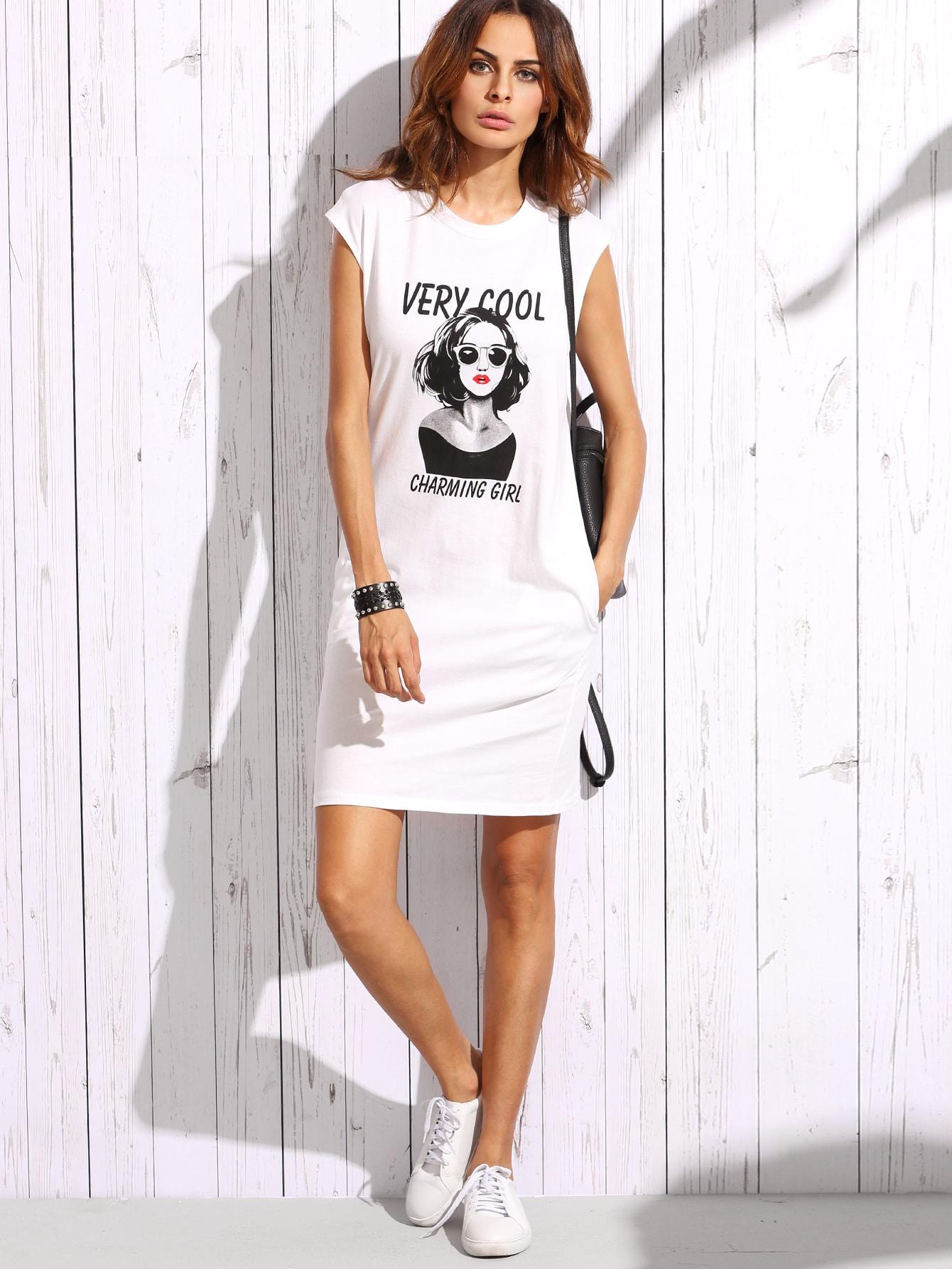 portrait print cap sleeve tee dress shein sheinside. Black Bedroom Furniture Sets. Home Design Ideas