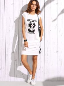 White Portrait Print T-shirt Dress