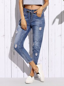 Blue Ripped Embroidered Patch Ankle Jeans