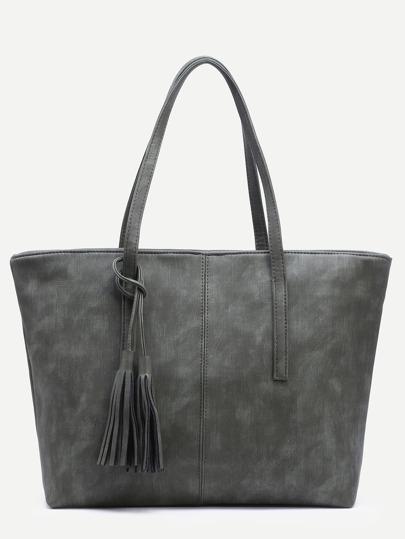 Olive Green Distressed Tassel Trim Tote Bag