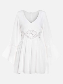 White Crochet Hollow Out Zipper Bell Sleeve Dress